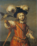 A Boy with a Falcon and Leash