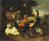 A Cockerel with other Birds
