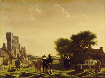 A Dutch Farm with the Ruins of the Huis te Kleef