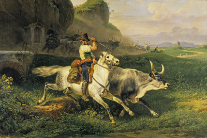 A Roman Herdsman driving Cattle
