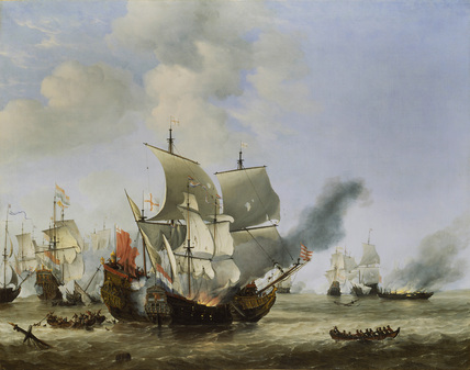 The Burning of the Andrew at the Battle of Scheveningen