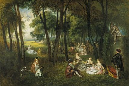 Fête galante in a wooded lanscape with the sculpture of a seated nude woman