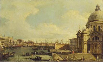 Venice: the Grand Canal with Santa Maria della Salute towards the Riva degli Schiavoni