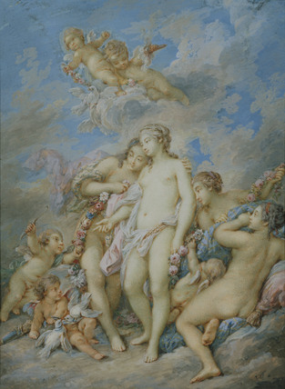 Love offering the Apple to Venus (after Boucher)