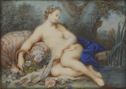 A Woman resting by a stream