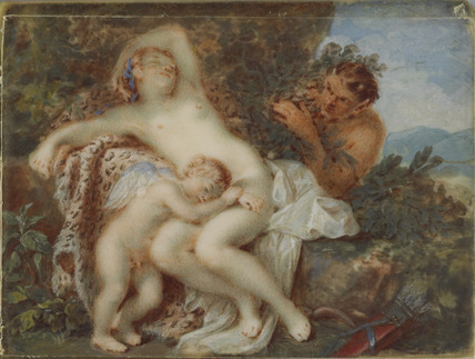 Venus and Cupid surprised by a Satyr