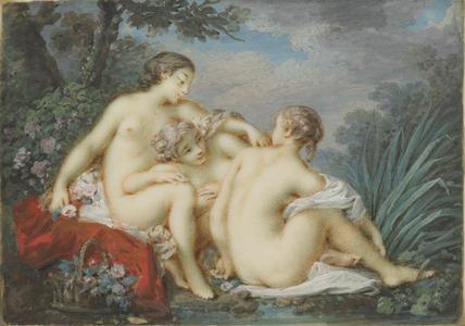 Three Women by a stream