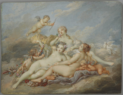 Nymphs and Putti in the clouds