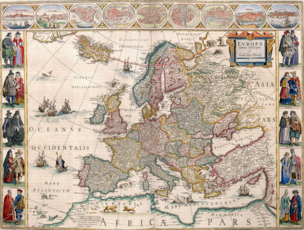 Map Of Europe From The Blaeu Atlas 17th Century Memoryprints