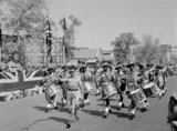 A Basuto band marching past a saluting base on Empire Day, Cairo, 1943