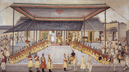 Colonel James Skinner holding a Regimental Durbar, 1827