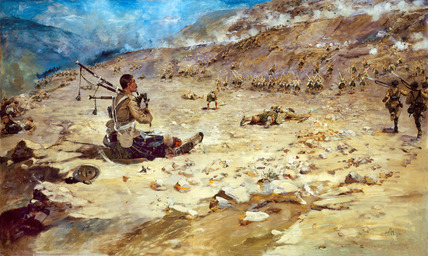 Piper George Findlater, The Gordon Highlanders, winning the Victoria Cross at Dargai, 1897
