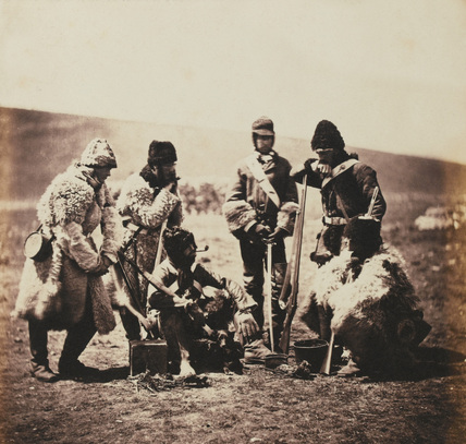 Captain William Pechell and men of the 77th (East Middlesex) Regiment of Foot in winter dress, 1855