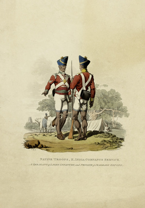 Light company havildar and sepoy of a battalion company, Madras Native Infantry, 1815 (c)