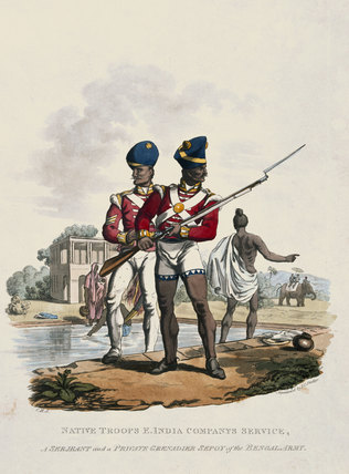 Troops in the East India Company's service, a Sergeant and a Grenadier Sepoy of the Bengal Army, 1812