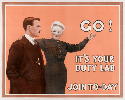 'Go! It's Your Duty Lad Join To-day', 1915 (c)