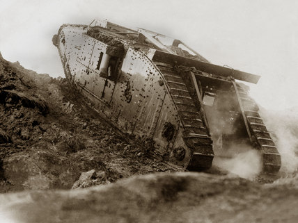 British Mark IV female tank during trials, 1917