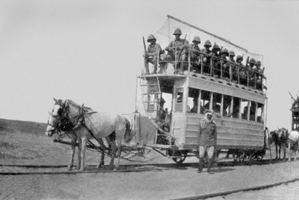 Tram full of soldiers on the way to Kut, 1915 (c)
