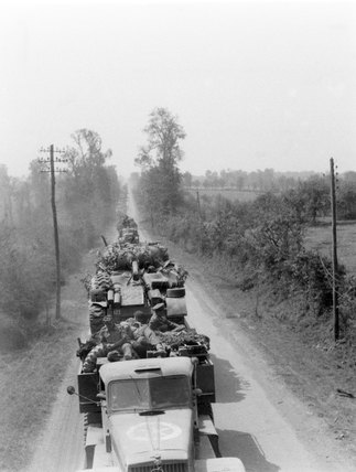 Tank transporters moving back to the Caen sector, 1944