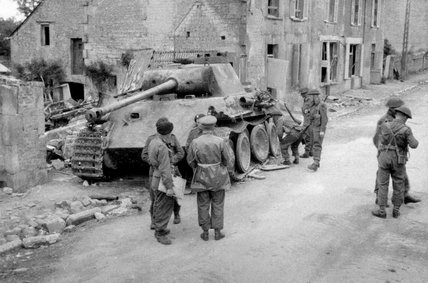 Knocked-out German Panther tank, Bretteville-en-Orguilleuse, 1944