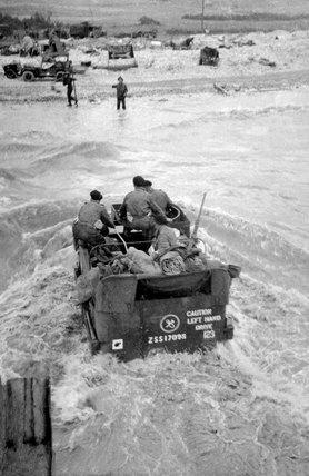 'C' Squadron half-track wading ashore, 7 June 1944