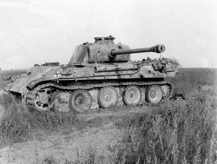 Disabled German Panther tank, 1944