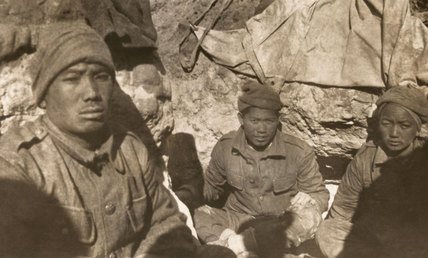 Gurkha soldiers resting in a trench at Gallipoli, 1915