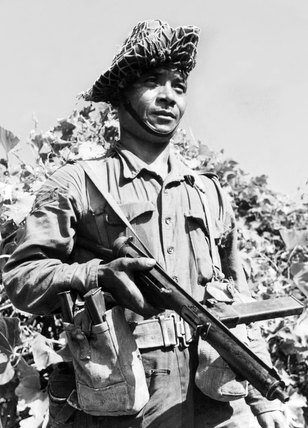 A Gurkha soldier armed with a Sten Gun, 1944