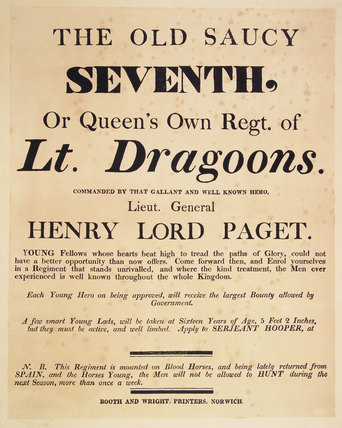 'The Old Saucy Seventh, or Queen's Own Regt of Lt. Dragoons', 1809