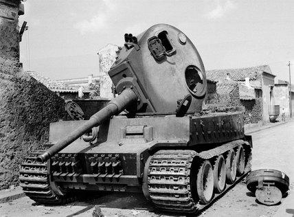 Knocked out Mk VI Tiger tank at Belpasso, Sicily, 1943