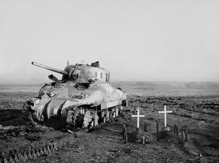 Sherman tank, with two white wooden grave markers, Italy, 1943 (c)
