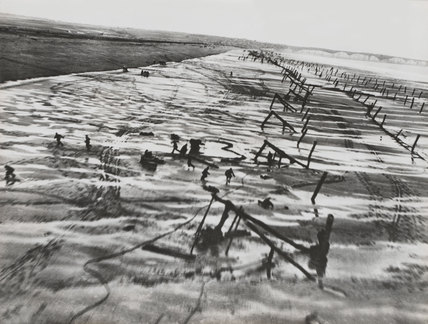 German beach obstacles, Normandy, 1944