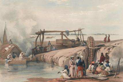 'Scene on the River Sutledge, near Paukputtun in the Punjaub', 1839 (c)