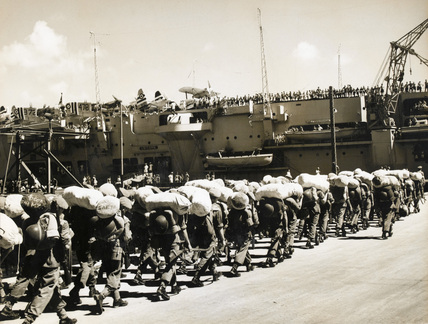 The Middlesex Regiment join HMS Unicorn, Hong Kong, 1950