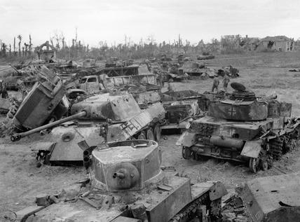 Armour destroyed around Caen, 1944