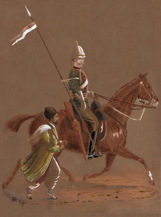Trooper of the 9th Lancers with an Afghan soldier, 1880