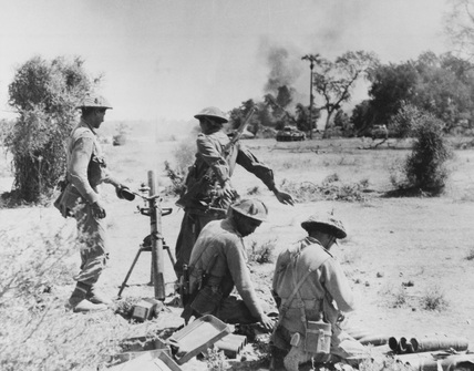 An Indian 3-inch mortar platoon in action, Burma, 1944