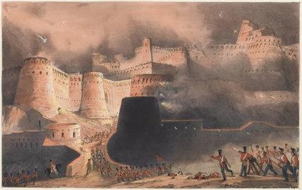 'Storming of Ghuznee. The Caubul Gate', 1839