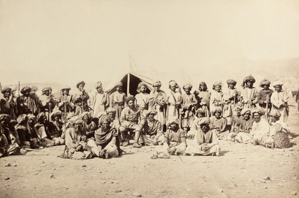Afghan tribesmen at a durbar, 1879 (c)