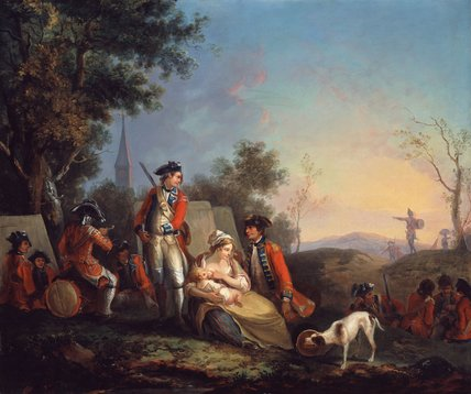 British infantrymen of a royal regiment in an encampment, 1760 (c)