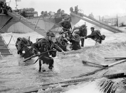 Commandos wading ashore from landing craft, 6 June 1944