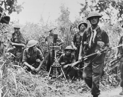 A British mortar crew in action, Burma, 1944