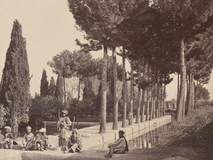 Afghan tribesmen rest in Babur's gardens, Jalalabad, 1878