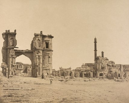 Clock tower in front of the Bailee Guard Gate, Lucknow, 1858 (c)