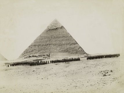 The 19th Hussars formed up in front of a pyramid, Giza, Egypt, 1882 (c)