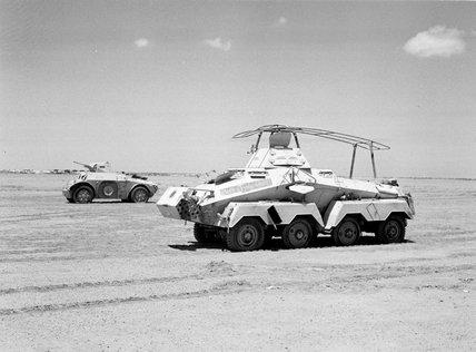 Captured German and Italian armoured cars, North Africa, 1942 (c).