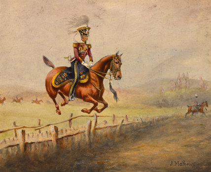 A mounted officer of the 13th Regiment of (Light) Dragoons jumping a fence, 1835 (c)