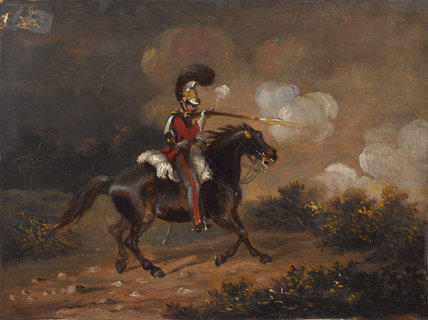 Trooper of 1st Life Guards firing a carbine, 1830 (c)