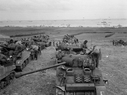 Tanks of 3rd County of London Yeomanry (Sharpshooters) in the de-waterproofing area, June 1944