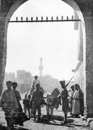 A sepoy guarding a gateway, Baghdad, 1917